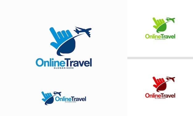 Vector de concepto de diseños de logotipos de viajes en línea, plantilla de diseños de logotipos de cursor y avión