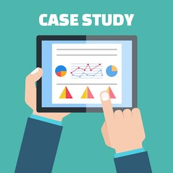 Vector de concepto de estudio de caso con dispositivo informático