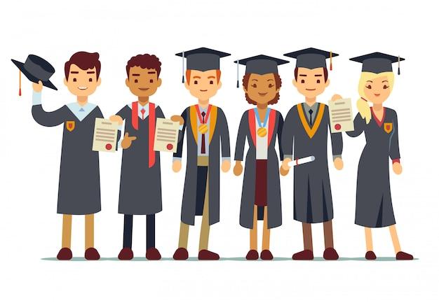 Vector concepto de graduación con los estudiantes