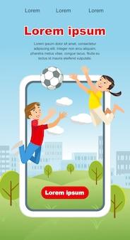 Vector concepto imagen happy kids juego pelota de fútbol