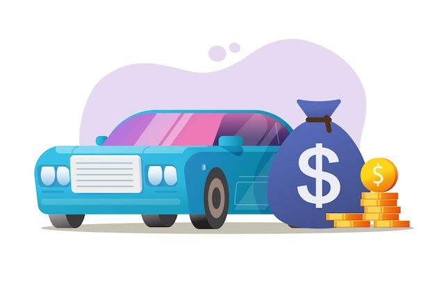 Vector de concepto de préstamo caro de dinero de vehículo de coche, idea de precio de impuesto automático