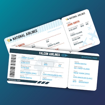 Vector concepto de viaje con boletos de embarque de avión