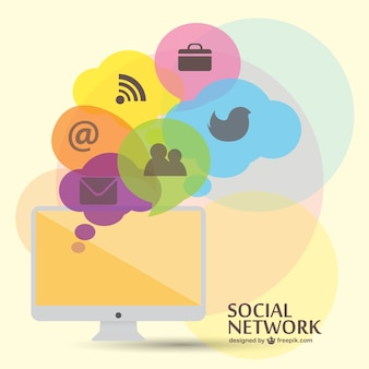 Vector conceptual de redes sociales con iconos