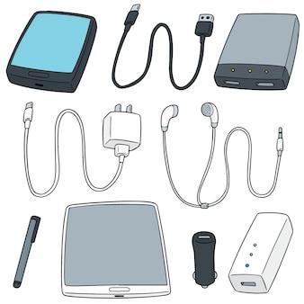 Vector conjunto de accesorios para dispositivos móviles