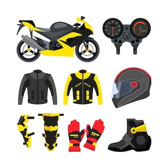 Vector conjunto de accesorios de moto. bicicleta deportiva, casco, guantes, botas, chaqueta.
