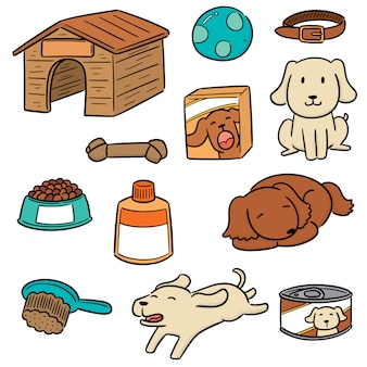 Vector conjunto de accesorios para perros