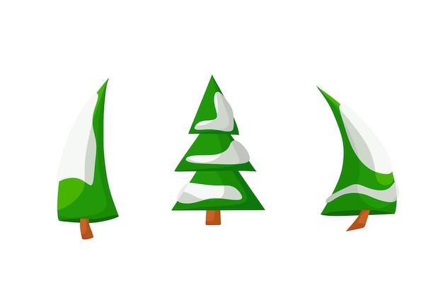 Vector conjunto de árboles de navidad en la nieve en estilo de dibujos animados