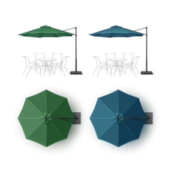 Vector conjunto de azul verde patio en blanco al aire libre playa café bar pub salón restaurante