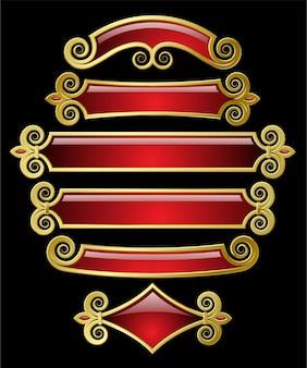 Vector conjunto de banderas de oro rojo