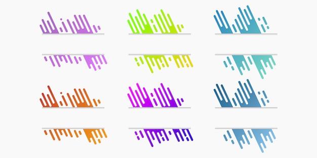 Vector conjunto de banderas de papel cortado con líneas redondeadas gradientes dinámicas