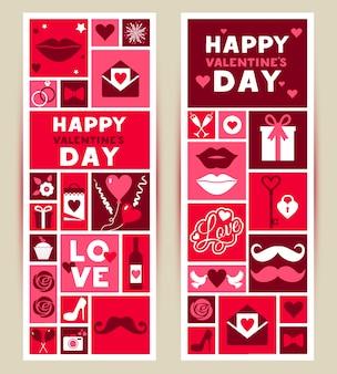 Vector conjunto de banners de día de san valentín