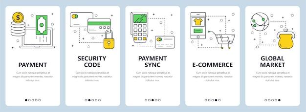 Vector conjunto de banners con pago, código de seguridad, sincronización, comercio electrónico, plantillas de sitio web de mercado