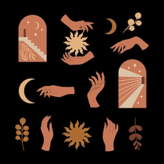 Vector conjunto bohemio. manos mágicas con arco de estética contemporánea, media luna y sol. ilustración moderna de dibujos animados plana