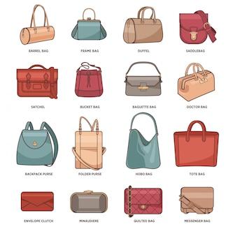 Vector conjunto con bolsas de moda.