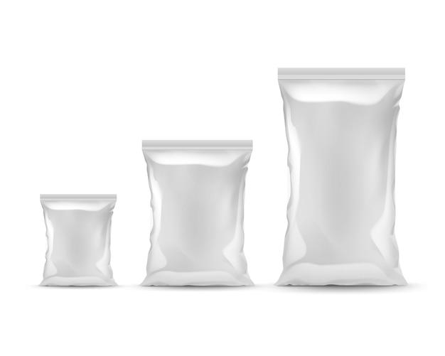 Vector conjunto de bolsas de plástico vacías selladas verticales de diferentes tamaños para el diseño del paquete