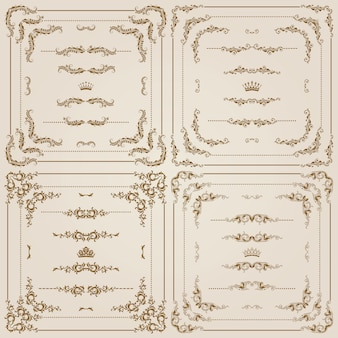 Vector conjunto de bordes decorativos de oro