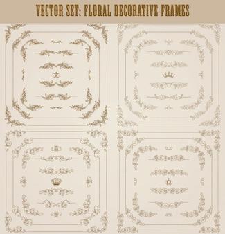 Vector conjunto de bordes decorativos de oro