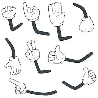 Vector conjunto de brazos de dibujos animados