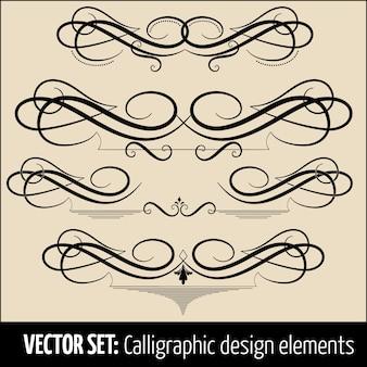 Vector conjunto de caligrafía y elementos de diseño de decoración de página. elementos elegantes para su diseño.