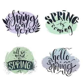 Vector conjunto caligráfico. conjunto de frases relacionadas con la primavera.