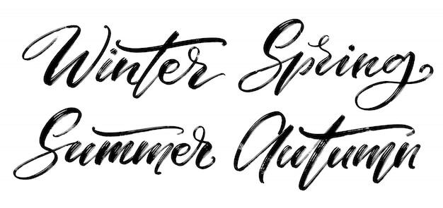 Vector conjunto caligráfico. partes del año a mano.