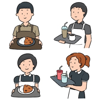 Vector conjunto de camarero y camarera