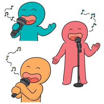 Vector conjunto de cantante