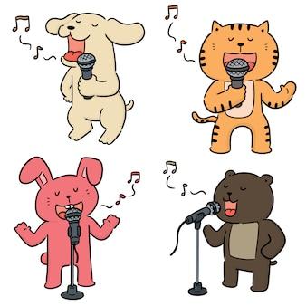 Vector conjunto de canto de animales