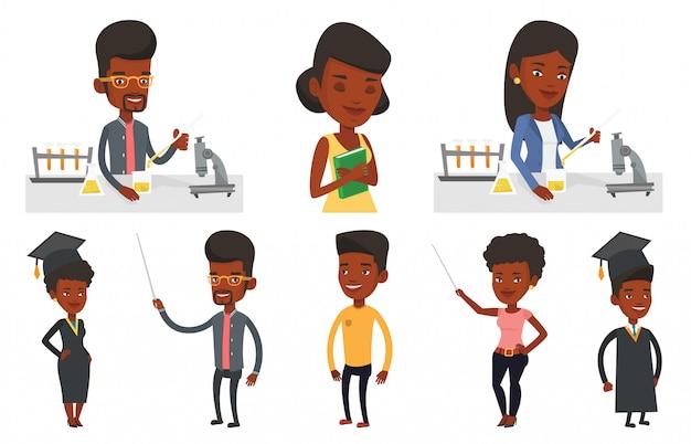 Vector conjunto de caracteres de los estudiantes