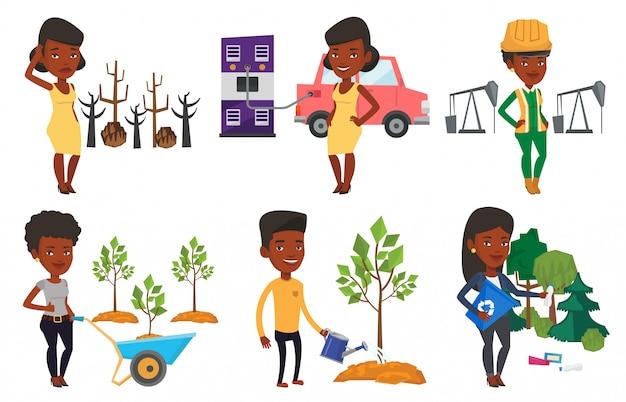 Vector conjunto de caracteres sobre cuestiones de ecología.