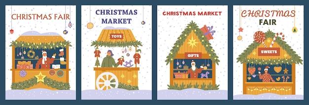 Vector conjunto de carteles de mercado de navidad con tiendas de regalos, adornos, juguetes y dulces.