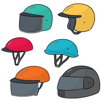 Vector conjunto de casco de moto