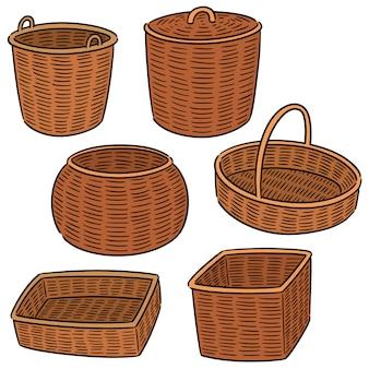 Vector conjunto de cesta de mimbre