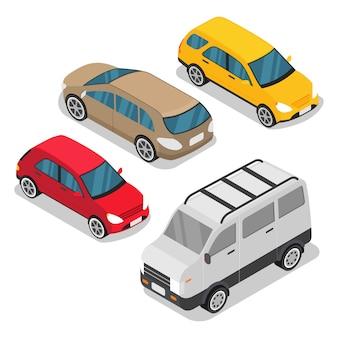 Vector conjunto ciudad objeto isométrico coche