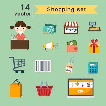 Vector conjunto de compras