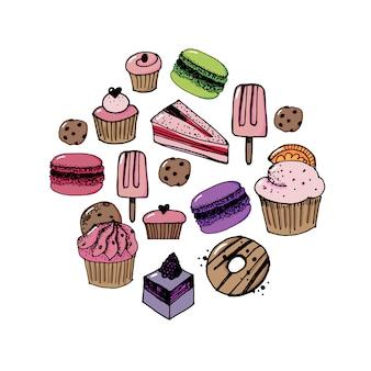 Vector conjunto de confitería y dulces iconos.