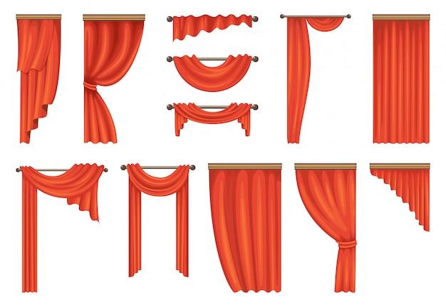 Vector conjunto de cortinas de teatro rojo