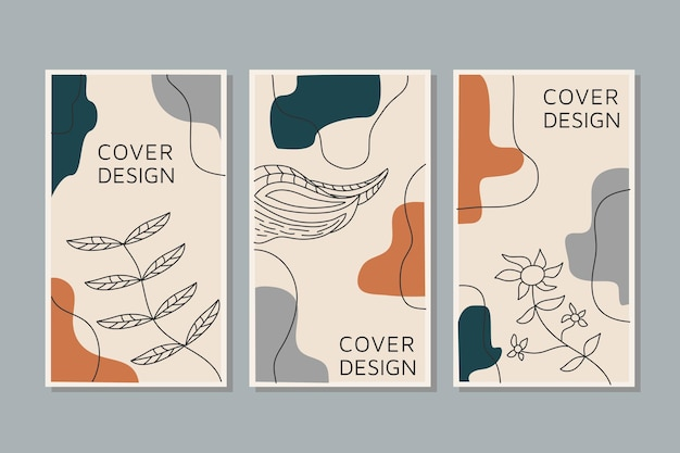 Vector conjunto creativo de artes de línea de historias de redes sociales hojas tropicales color cálido del tono de la tierra