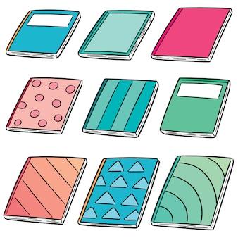 Vector conjunto de cuadernos