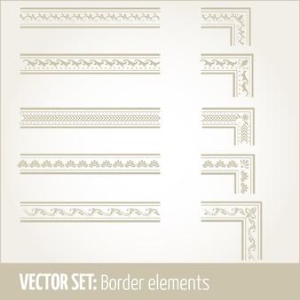 Vector conjunto de elementos de frontera y elementos de decoración de página. elementos decorativos de la frontera patrones. fronteras étnicas ilustraciones vectoriales.