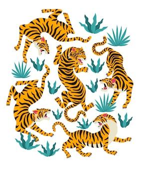 Vector conjunto de tigres y hojas tropicales