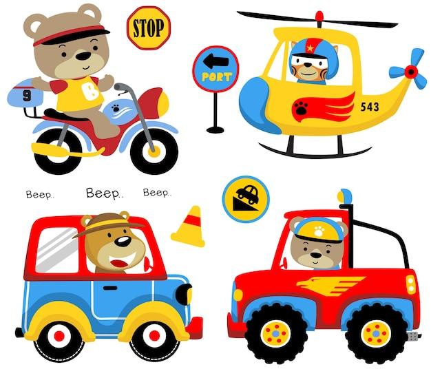 Vector conjunto de dibujos animados de animales divertidos en vehículos