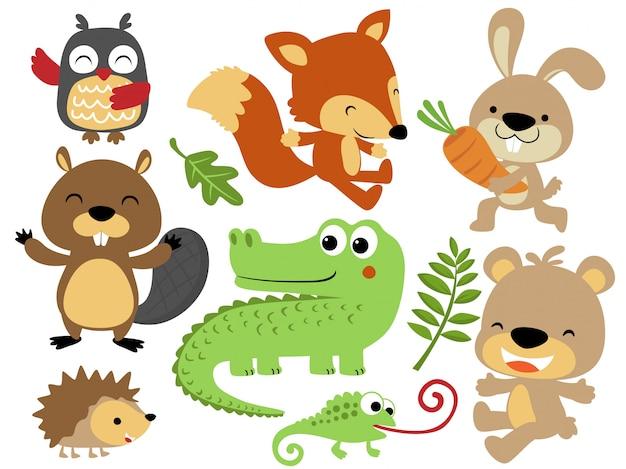 Vector conjunto de dibujos animados de animales felices