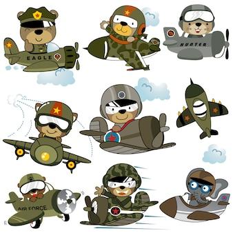 Vector conjunto de dibujos animados de aviones militares con divertidos pilotos