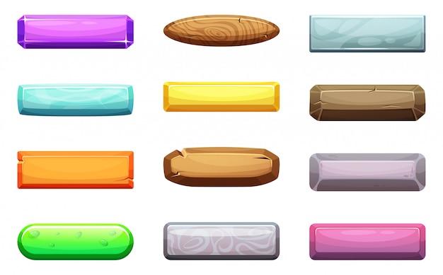 Vector conjunto de dibujos animados de botones de la interfaz de usuario. plantilla para proyectos de diseño de juegos.