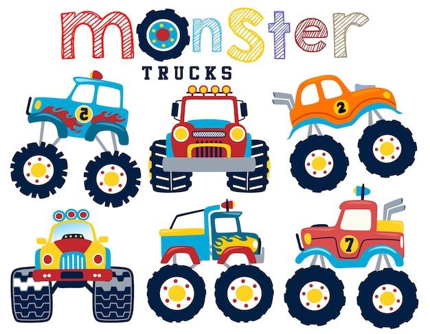 Vector conjunto de dibujos animados de camiones monstruo