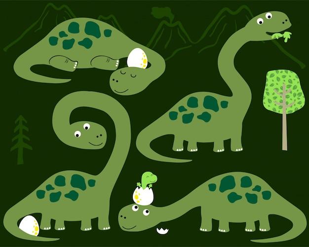 Vector conjunto de dibujos animados de dinosaurios