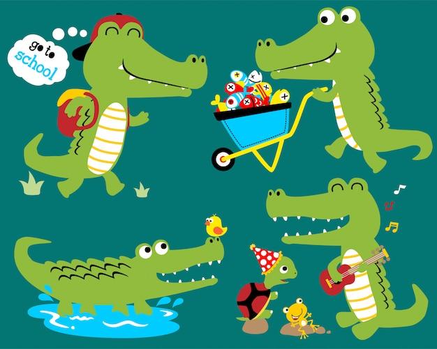 Vector conjunto de dibujos animados divertidos cocodrilo