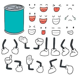 Vector conjunto de dibujos animados de lata
