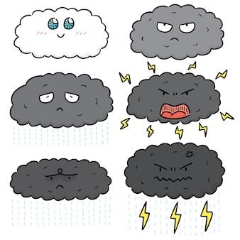 Vector conjunto de dibujos animados de nube